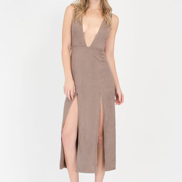 Over The Swoon Double Slit Maxi Dress GoJane.com
