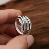 Retro Handmade Silver Feather Women Open Ring Leaves Ring
