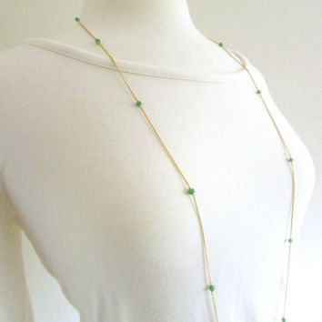 Long emerald necklace, long gold necklace, emerald birthstone jewelry, lucite green gemstone station necklace, May birthstone necklace
