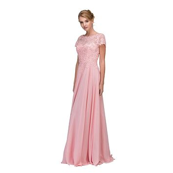 Dusty Pink Short Sleeves Applique Bodice A-Line Long Formal Dress