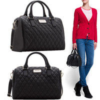 Plaid Accent Faux Leather Tote Handbag with Detachable Strap