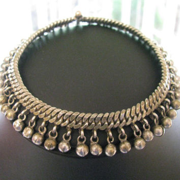 Indian Silver Flexible Chain Anklet, High Grade and Old Silver, Rajasthan, India, 48.7 Grams (1.71oz.)