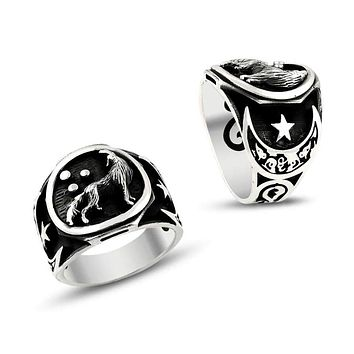 Wolf crescent star sterling silver mens ring
