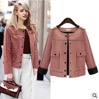 Fashion 2016 Trending Fashion Leather Women Slim Button Outerwear Jacket