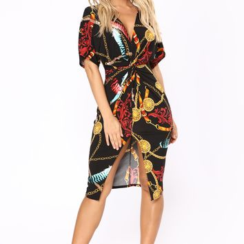 Feel Treasured Knot Dress - Black Multi