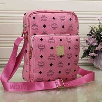 """MCM"" Unisex Briefcase Trending Casual Logo Letter Print Wide Shoulder Strap Single Shoulder Messenger Fashion Bag Pink G"