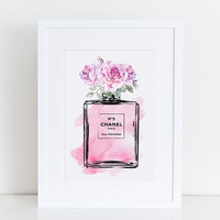 Coco Chanel No5 print 8.5x11 in Pink flowers roses watercolor  - Instant download. Coco Chanel Chanel poster Chanel Art Printable Chanel no5