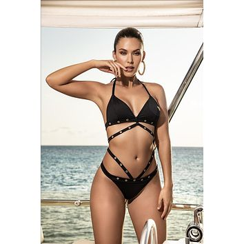 Black Sophisticated Strappy Triangle Top w/ Metal Eyelets Two Piece Swimsuit