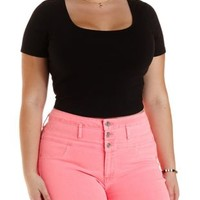 Plus Size Black Caged-Back Crop Top by Charlotte Russe