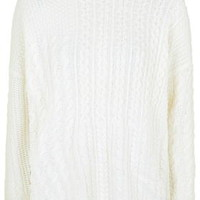 Patchwork Cable Knit Sweater - Cream