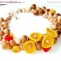 Solar necklace Yellow red Nursing crochet bead Boho chic  Christmas idea gift  for her Ecofriendly natural bead Under 60