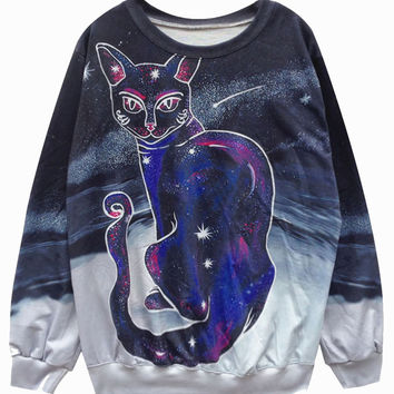 Harajuku Galaxy Cat Sweater