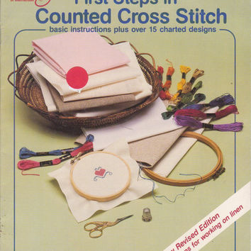 First Steps in Counted Cross Stitch booklet with UNUSED 18 ct aida bookmark by Rita Weiss American School of Needlework 5103 Revised Edition