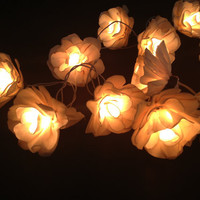 Ivory white flower string lights for Patio,Wedding,Party and Decoration (20 bulbs)