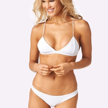 Candice Top x Madison Bottom Bikini Separates (White Rib)