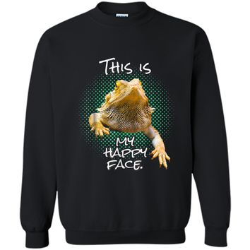 This Is My Happy Face Bearded Dragon Funny Reptile  Printed Crewneck Pullover Sweatshirt