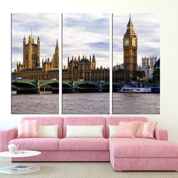 large canvas London Skyline wall art Print, extra large wall art, canvas gallery art, London wall art,  Big Ben and Westminster  t246