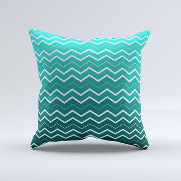 Teal Gradient Layered Chevron  Ink-Fuzed Decorative Throw Pillow