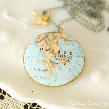 Greece Map Locket Necklace on Large Vintage Locket - Vintage Map - Sterling Silver Chain - International Traveler - Ready to Ship