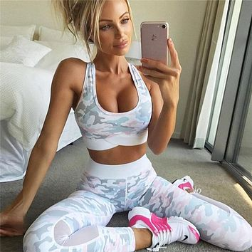 JLZLSHONGLE New Camouflage Print Women Suits 2 Piece Set Sexy Mesh Splice Bras And Leggings Fitness Sets Trainingspak Vrouwen