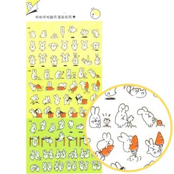 Adorable Bunny Rabbit Cartoon Flip Book Storytelling Stickers | DOTOLY