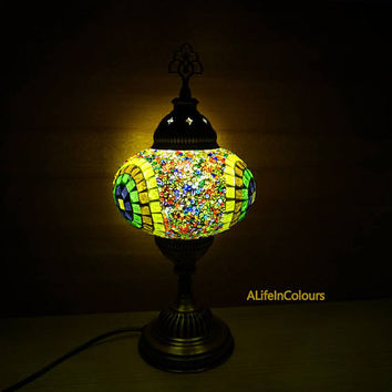 Colourful Turkish glass mosaic decorative table night lamp, bedroom night lap, bedside lamp, kid's room lamp.
