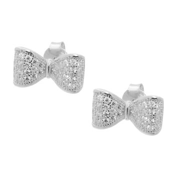 Children's Platinum Plated Sterling Silver White Cubic Zirconia Bow Tie Ribbon Stud Earrings