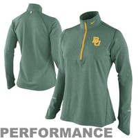 Nike Baylor Bears Ladies Element Long Sleeve Half Zip Performance T-Shirt - Green