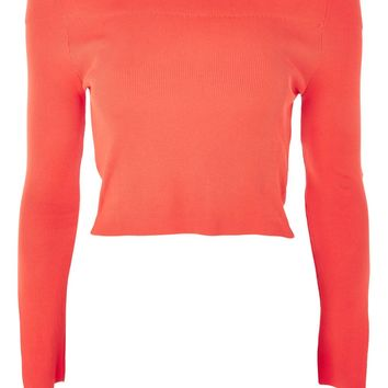 Bardot Split Sleeve Knitted Top | Topshop