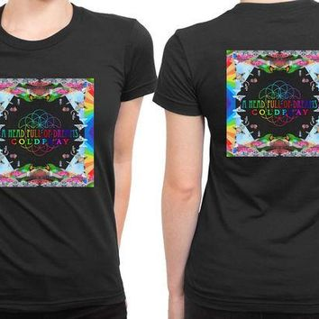 VONEED6 Coldplay A Head Full Of Dreams Cover Album Center Title 2 Sided Womens T Shirt