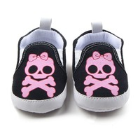 Pink Skull Shoes Slippers Newborn First walkers Infant Crib Shoes Toddler Cartoon Fashion Home Wear Loafers
