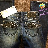 MISS ME JEANS WOMENS BLING LEATHER WINGS SIZE 25 NEW WITH TAG! 10% OFF SPECIAL!!