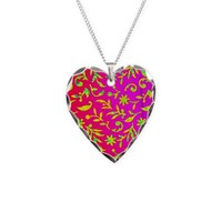 ABSTRACT PATTERN ON RED NECKLACE