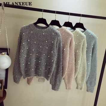 2018 Pearl Sweater Women Fashion Korea O-Neck Sweater Casual Long Sleeve Warm Pullovers Tops Gray Black Color Short Section