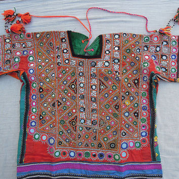 Banjara Tribal Dress , Indian Vintage Fabric , Old Mirror Handmade Pakistani Dress , Belly Dance Choli Blouse Dress, Banjara Yoke Fabric