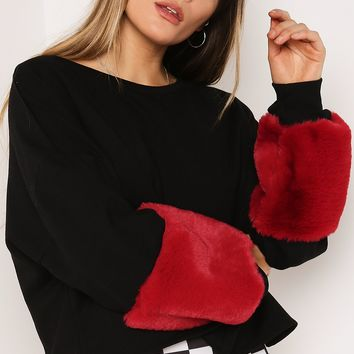 BLACK FAUX FUR BALLOON SLEEVE JUMPER