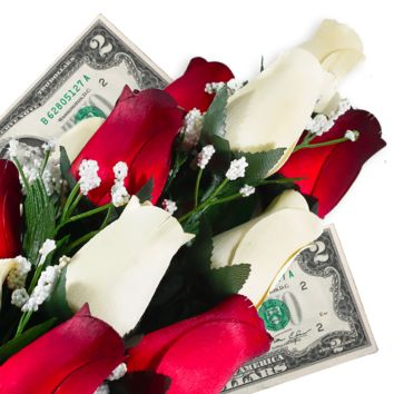 Cream & Red Bouquet | Cash Roses®