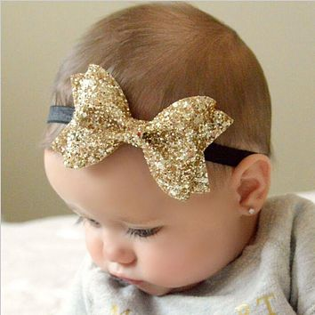 TWDVS Newborn Shiny Bow Knot Hair bands Elastic Bow Headband Kids Hair Accessories Ring hair accessories W213