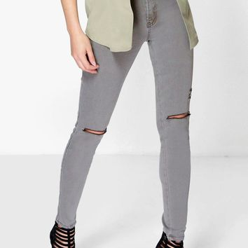 Esme High Waisted Tube Jeans With Rips