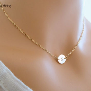 14k gold initial necklace tiny gold initial necklace small initial necklace gold initial necklace monogram Necklace gold initial Jewelry