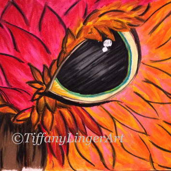Owl pastel drawing, vibrant feathers, orange, pink, bird, owls, eye, original art, colorful owl, wall art, unique gift