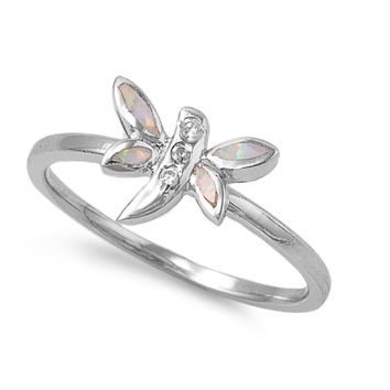Sterling Silver Dragonfly 8MM White Lab Opal Ring