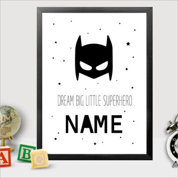 Personalised Batman Name Canvas Art Print Painting Poster Boys Bedroom Wall Art Decor, Superhero Name Prints Kids Boy Room Decor