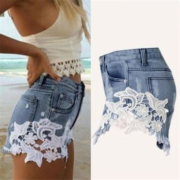 VONG2W 2017 Hot Sale Sexy Fashion Women High Waist Tassel Hole Shorts Jeans Denim Lace Short Pants  S-XXL Size high quality MAR2
