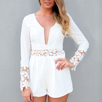 ALIVE LACE PLAYSUIT , DRESSES, TOPS, BOTTOMS, JACKETS & JUMPERS, ACCESSORIES, 50% OFF SALE, PRE ORDER, NEW ARRIVALS, PLAYSUIT, COLOUR, GIFT VOUCHER,,White,LACE,LONG SLEEVES Australia, Queensland, Brisbane