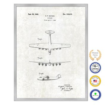 1942 Airplane Antique Patent Artwork Silver Framed Canvas Print Home Office Decor Great for Pilot Gift