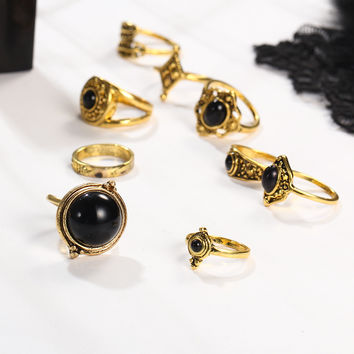 2 Style Vintage Brinco Carved Flower Black Resin Lucky Power Midi Rings for Women 2017 Boho Jewelry Knuckle bague  JM0510
