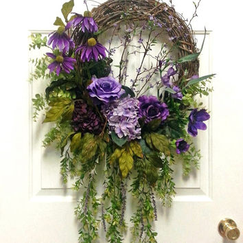 Gorgeous Overflowing Purple Floral Wreath