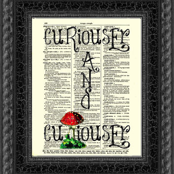 Curiouser and Curioser Alice in Wonderland Art Print 1897 Dictionary Page, Wall Decor, Book Art, Red White Mushroom, Mixed Media Art