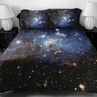 Anlye Nebula Bedding Sets for Home Decor 2 Sides Printing Light Blue Nebula Quilt Cover Twinkle Star Flat Sheet with 2 Nebula Pillow Covers Full